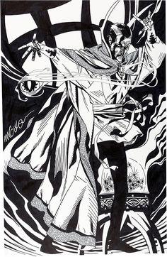 "thebristolboard: ""Trio of Doctor Strange commission illustrations by Michael Golden. Comic Book Artists, Comic Artist, Comic Books Art, Comic Character, Character Design, Weird Art, Strange Art, Strange Magic, Marvel Comics Art"