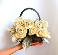 Felt bag Felted bag felted handbag Felt Bags Grey Bag