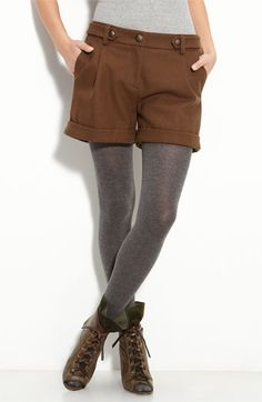 style I would like to try with cuter boots though, kind of like a lederhosen! Fall Outfits, Summer Outfits, Casual Outfits, Fashion Outfits, Womens Fashion, Casual Boots, Summer Clothes, Shorts With Tights, Leggings
