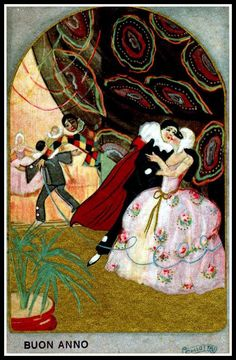 Vintage Pierrot postcard - Sofia Chiostri (Italian 1898-1945)