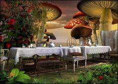 Alice in Wonderland Scene Setter; Alice in Wonderland Party Decor Photo Props; We're All Mad Here - Wonderland Alice In Wonderland Scenes, Alice In Wonderland Mushroom, Alice In Wonderland Tea Party, Alice In Wonderland Background, Mad Hatter Birthday Party, Mad Hatter Party, Mad Hatter Tea, Tea Party Theme, Birthday Party Decorations