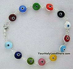 Hamsa Kabbalah Multi Colored Greek Glass Beads Evil Eye Bracelet-Blue/Red/Yellow/Purple/Green/Turquoise/Black by Grand Bazaar Imports. $14.99. What is the evil eye ? The evil eye is a belief that a person can harm you,your children, or your belongings simply by looking at them with envy and praising them. Jealousy, envy, or praise can inflict all kinds of misfortune on the object of desire whether if it is a person or simply an object of desire. The penetrating look i...