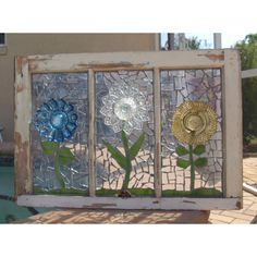 Glass plates glued to a windownius do it yourself creations repurpose stained glass mosaic window glass plate flowers vintage wooden art by artful salvage solutioingenieria Gallery