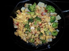 Potato broccoli casserole   This is a quick and easy dish to make. Potatoes, broccoli and cheese go together well. I love the spiciness of the chili paste.