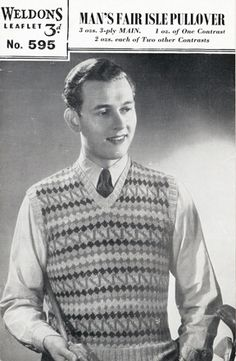 7f5a7ee057 The Vintage Pattern Files  Free 1940 s Knitting Pattern - Weldons 595 Man s  Fair Isle Pullover