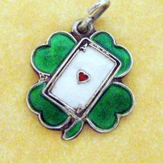 Rare Vintage German Silver Enamel CLOVER ACE OF HEARTS LUCKY Charm