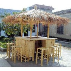 Bamboo Tiki Bar from Vietnam- contact us to order : sales@gg-concept.com  - These items are made from real bamboo and thatch which is available in Vietnam - Perfect idea for you to create a tropical theme for your house - Plenty of shelf/storage space with doors underneath the counter - The bar has strong, sustainable bamboo structure - Bamboo tree are treated in order to protect itself from ant and termite - Our products are totally eco friendly.