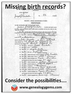 family history, a missing birth record for an ancestor can be a frustrating brick wall. Check out these strategies for finding the elusive record. Free Genealogy Sites, Genealogy Forms, Genealogy Chart, Genealogy Research, Family Genealogy, Genealogy Humor, Lds Genealogy, Free Genealogy Records, Family Tree Research