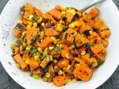Salada de batata-doce com milho