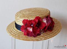 Malonsilla Artesanía - - Canotier copa baja Cadaqués desmontable para invitada boda Diy Straw, Straw Hats, Diy Hat, Love Hat, Cute Hats, Derby Hats, Summer Hats, Ivana, Ascot
