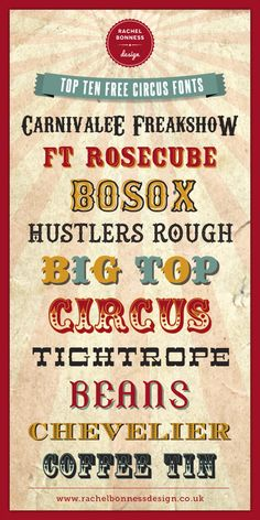 Top Ten Free Circus Style Fonts || RachelBonnessDesign ~~ {10 free fonts w/ easy download links}
