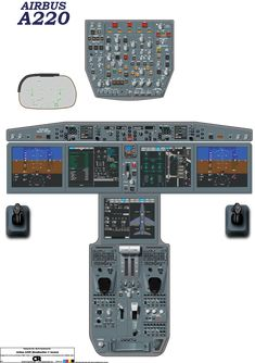 This high resolution cockpit Poster for the Airbus A220 (Bombardier C Series) is based on official Airbus drawings and cockpit photographs. The poster helps you familiarise yourself with the layout of the cockpit or may be used by flight sim users to check on the locations of panels & switches.