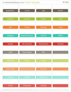 The Harmonized House Project are organizing planners and productivity printable worksheets. This collection is our for organizing your home finances. The Harmonized House Project is created and des… Organizing Labels, Planner Organization, Room Organization, Printable Labels, Printable Worksheets, Printable Alphabet, Printable Calendars, Printable Recipe, Printable Stickers