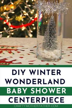 This Christmas Pregnancy tips: DIY winter wonderland baby shower centerpiece idea, winter wonderland baby shower theme ideas, decorations, centerpiece and DIY all in one. If you need an easy affordable winter wonderland baby shower theme idea this is it. #babyshowerideas #babyshowertheme #winterwonderland #babyshowercenterpiece