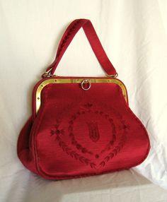 Vintage Roberta di Camerino 1960s Burgundy Cut Velvet Handbag