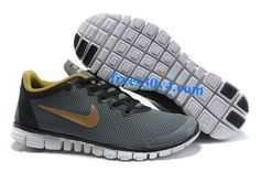 Grey Metallic Gold Nike Free 3.0 V2 Men's Running Shoes