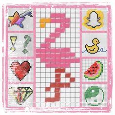 Pixelart / Kästchen ausmalen / Ideen und Motive, Vorlagen / Flamingo, Yin Yang, Snapchat, Melone, Diamant, Ente, Herz, Sternschnuppe / Malen & Zeichnen