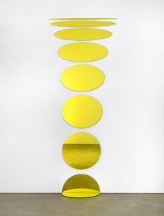 Olafur Eliasson, Welcoming ellipses. 2008, Laminated mirror (yellow), aluminium, rubber, 247 x 99 cm