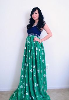Hmong green and blue maxi dress size Small by Xweets on Etsy
