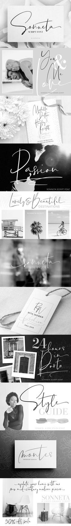 Sonneta script font.