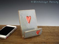 Cell Phone Stand with Hearts Iphone Stand / by DirtKickerPottery