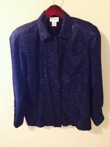Neiman Marcus Royal Blue Button Up 100 Silk Womans Sz 8 | eBay