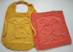Free Patterns for dishcloths and bibs.  Down Cloverlaine: A Tail of Two Bunnies