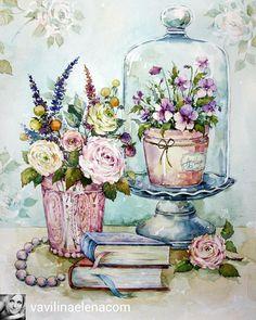 Elena Vavilina: part 2 Decoupage Vintage, Decoupage Art, Vintage Diy, Vintage Cards, Vintage Paper, Art Floral, Vintage Pictures, Vintage Images, Pretty Pictures
