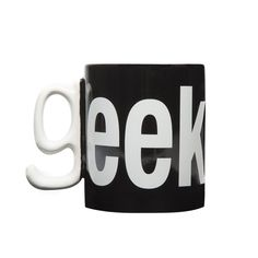 """GEEK MUG - Join the hippest alliance in the world… The Geeks! Made with high quality ceramic, this mug is etched with the word 'EEK' and uses the handle to form the 'G'.  Take a sip and let your coworkers know that being knowledgeable about """"the most random things"""" is a point of pride.      Geek labelled mug     Alphabet G handle     High quality ceramic     Dishwasher and microwave safe www.cubiclelife.com"""