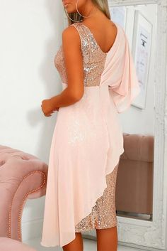 Pink Chiffon Detail Sequin Party Dress, Shop for cheap Pink Chiffon Detail Sequin Party Dress online? Buy at Modeshe.com on sale! Sexy Dresses, Evening Dresses, Online Dress Shopping, Dress Online, Dresses To Wear To A Wedding, Party Dresses Online, Long Sleeve Sweater Dress, Sequin Party Dress, Chiffon Material