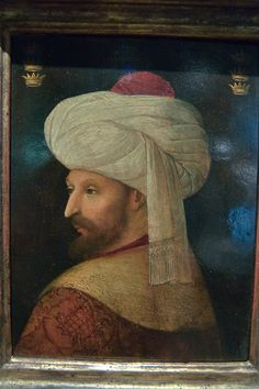 Picture Archives - Album 841 (Doha - Harrarah, Qatar, March 7 - - Photo 01 (Portrait of Sultan Mehmed II el-Fatih the Conqueror by Gentile Bellini words].display in Museum of Islamic Art. Historical Art, Historical Pictures, Turban, Mehmed The Conqueror, Adele, Sultan Ottoman, 16th Century Clothing, Ottoman Turks, Arabian Nights
