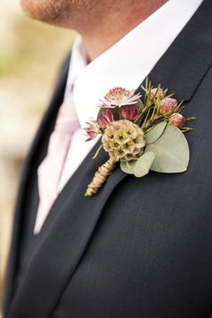 Marsala Rustic Wedding Boutonniere by Los Angeles Florist Flower Duet.  Photo by Jeannie Mutrais Photography.  #FinishWithFlowers
