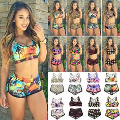 Women Two Piece Tankini Set Sports Surf Beachwear Bathing Suit Swimsuit  Swimwear c6c43608d