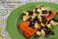 Teriyaki Salmon with pineapple and black bean salsa - via nutritiouseats.com - delicious!