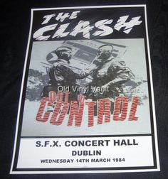The Clash concert poster S.F.X. Concert Hall Dublin 1984 new A3 size repro