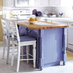 Unique kitchen in purple and white