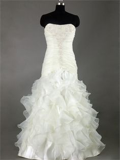 Mermaid Strapless Scoop Neckline With Beadings Ruffled Skirt Organza Satin Wedding Dress WD1098 www.tidedresses.co.uk $252.0000