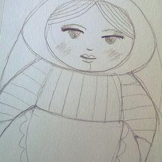 Dibujo de #matrioska que algún día será #muñeca #bordada
