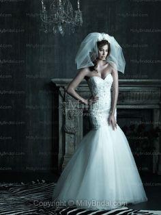 Trumpet/Mermaid Sweetheart Crystal Embroidery Satin Chapel Train Wedding Dress at Millybridal.com