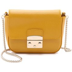 Furla Metropolis Micro Cross Body Bag ($250) ❤ liked on Polyvore featuring bags, handbags, shoulder bags, girasole, leather crossbody, crossbody handbags, leather purse, crossbody shoulder bags and leather shoulder handbags