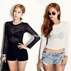 CROPPED Shirt See Through Tee Blouse Long sleeve Women Crop Tops Fashion Jacket