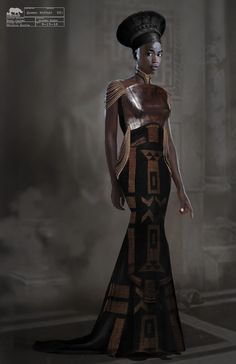 Marvel's Black Panther (CD Ruth E.: Costume Concept Artist - Marvel's Black Panther (CD Ruth E. Carter)<br> The online portfolio of Phillip Boutte Jr. Black Panther Costume, Black Panther Art, Black Panther Marvel, Black Panther Character, Kalter Winter, African Royalty, African Wear Dresses, Dress Illustration, Space Fashion