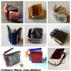 15 miniatuur boekjes naar museum Meermanno. Glas fused boekbanden, leren ruggen, handgebonden. Ontwerp Marie Jose Mathot 2013. #glazen boekband