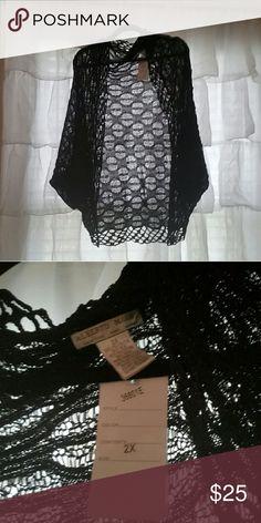 NWT BLACK SHRUG 2X Really cute black shrug. Light enough for anytime of year 2x Alberto Makali Sweaters Shrugs & Ponchos
