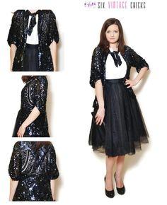 80s Sequin Jacket, Black Elegant Evening Jacket, Unique Handmade Jacket, Classic Shape, Vintage Womans Clothing, Size M/38 by SixVintageChicks on Etsy