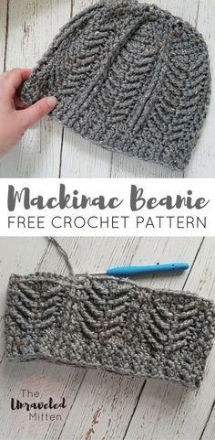 Mackinac Beanie   Free Crochet Pattern   The Unraveled Mitten   Cable stitches   Men's Hat