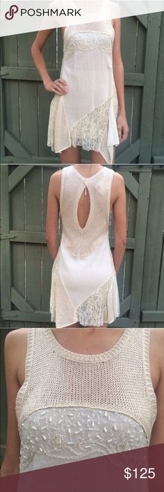 NWT Free People cream dress New with Tags mixed fabric sleeveless dress. XS. Beading, lace, gold lurex and sweater knife fabrics. Sold out style! Note: model is wearing a nude strapless bra and a nude skirt slip underneath Free People Dresses