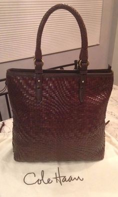 Cole Haan MINT! Genevieve Woven Brown Leather Tote Hobo Shoulder Hand Bag Purse #ColeHaan #TotesShoppers GORGEOUS!!! MINT CONDITION!!! BEAUTIFUL CHOCOLATE BROWN COLOR!!! SALE!!! WOW!!!