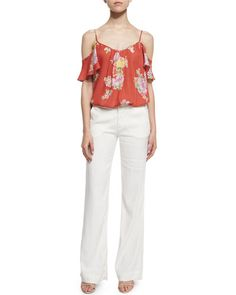 Joie  Adorlee Floral-Print Cold-Shoulder Top Starboard Wide-Leg Linen Pants. $New Joie Pants. Regular Price $188, See New offer At: shop. newofferclothing.com<<< #Joie-Pants Joie Clothing, Wide Leg Linen Pants, New Fashion, Cold Shoulder, Floral Prints, Legs, Clothes, Shopping, Top