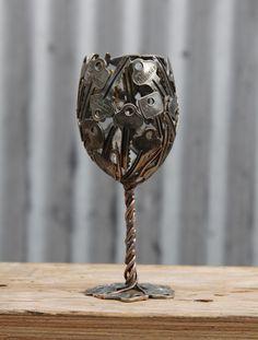 Sleutel wijnglas belangrijke Goblet metalen sculptuur